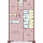 3LDK+WICの広々としたマンションです!居住中ですがとてもきれいにお使いです。(間取)